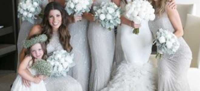 Серебряное свадебное платье и свадьба в серебристом цвете